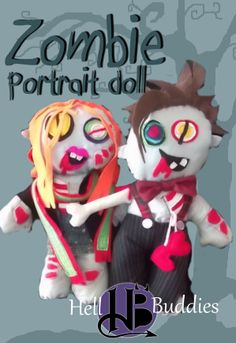Zombie portrait dolls. Undead Dr Who and Amy pond ooak custom made cloth dolls by Hell Buddies.  https://www.facebook.com/Hellbuddies