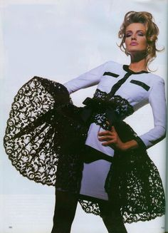 1991Vogue UK April ''Haute Couture editorial by Tyen.'' Model Karen Mulder. Chanel