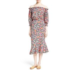 Clearance Online Cheap Real floral print off the shoulder dress - White Saloni Sale 100% Guaranteed QvhnNJ8