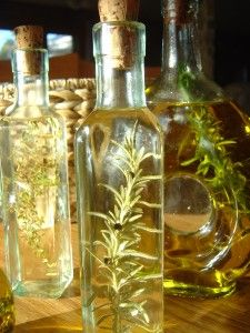 Herb infused vinegars- so easy to make and pretty too.    My mother used to make these at the end of the summer each year.