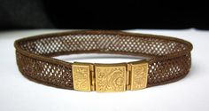 Beautiful Victorian Etched Flowers 18K GOld WOVEN HAIR Bracelet via Etsy