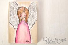 "Wooden Christmas angel ""Marie"" - handpainted in mixed-media style €24,00  This Christmas angel - called Marie - is her to remind you to breath and slow down. Take time for yourself. Rest. Do things that make you happy!  Put her on your shelve, near your bed or on your desk at work to brighten as a reminder that life is not a race.   Or give her as a present to a good friend who might need such a reminder.  #christmas #angel #wood #handmade #mixedmedia #ursulamarkgraf"