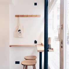 Efficient by providing place to hang bags. Lip to prevent things from falling over. Cafe Interior Design, Kitchen Interior, Interior Architecture, Bao London, Best Coffee Shop, Outdoor Cafe, Cafe Shop, Retail Design, Home Kitchens