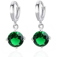 Earrings silver crystal drop earrings with a deep green cubic stones... ❤ liked on Polyvore featuring jewelry, earrings, silver jewellery, green earrings, stone earrings, green jewelry and silver earrings
