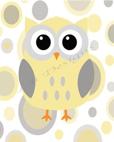 Gray and Yellow Owl Nursery Print Gender Neutral by LJBrodock