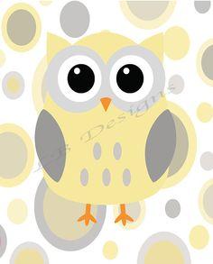 Gray and Yellow Owl Nursery Print - 8x10