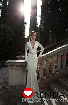 Wholesale Wedding Dresses - Buy 2014 Sexy Mermaid Wedding Dresses Berta Bridal Deep V Neck Appliques Lace Long Sleeve Pearl Beads Backless Beach Sheath Bridal Gown, $179.9 | DHgate