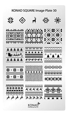 Original Konad square image Pochoir Plate 30Nail Art de Noël X-Mas Rétro Abstrait Bandes à carreaux: Square de la marque KONAD image plate…