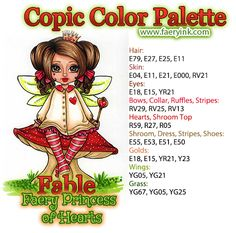 Faery Princess of Hearts Fable Copic Color Palette by Amanda S Byron… Copic Pens, Copic Art, Copics, Copic Color Chart, Copic Colors, Copic Markers Tutorial, Spectrum Noir Markers, Distress Markers, Alcohol Markers