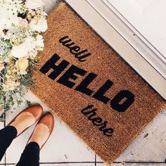 Our 'well HELLO there' doormat is the perfect way to create an inviting and clever entry way! Our welcome mats are hand-painted and make the perfect gift for newlyweds, housewarmings or birthdays! All of our mats are tan/natural brown in color. Measures 18 inches x 30 inches x 1 inch. The natural coir fibers of the doormat are from the husk of the coconut which is mold and mildew resistant and have an extra-sturdy, thick vinyl backing to ensure they won't slide around, no matter the…