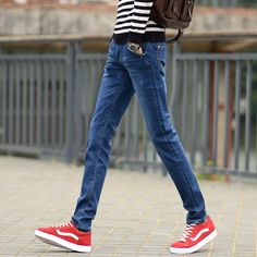 Find More Jeans Information about Korean Style Men Jeans Pants Classic Blue Ripped Skinny Jeans For Boys New Brand 2016 Denim Slim Fit Casual Jeans Male,High Quality pants jeans men,China pants supplier Suppliers, Cheap pants slimming from Eric's on Aliexpress.com