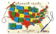 Magnetic Travel USA Map , Fun Kids Toys for Waiting Rooms,Free Shipping