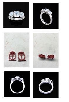 Custom made engagement ring. Platinum 3 stone engagement.