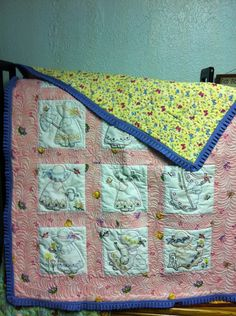 Hand  embroidered machine quilted baby quilt by donnabyington, $225.00