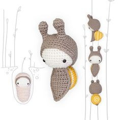 lalylala crochet pattern (printable PDF-file / 13 pages) GROVE SNAIL Life Cycle Playset, including • egg • snail . . . . . . . . . . . . . . . . . . . . . . . . . . . . . . . . . . . . . . . . HELLO BUG LOVERS AND CROCHET ADVENTURERS! Grab your research equipment (magnifying glass,