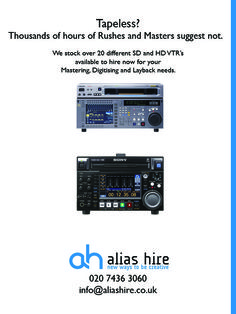 VTR deck hire from Alias. SD and HD machines available. HDCAM, HDCAM SR, Digi Beta, XDCAM and more 020 7436 3060 Hiring Now, Sd, Deck, Front Porches, Decks