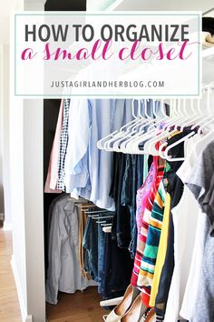 Helpful tips and tricks for organizing a small closet! Click over to the post to see the amazing before and after!