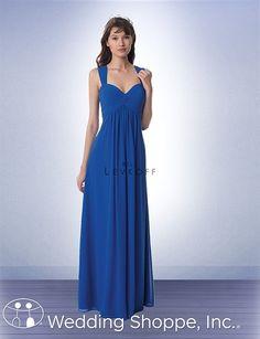 Long chiffon bridesmaid dress that's comfortable and sleek. Bill Levkoff 984
