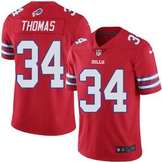 2c05cd5e442 Nike Bills  34 Thurman Thomas Red Men s Stitched NFL Elite Rush Jersey And  nfl jersey