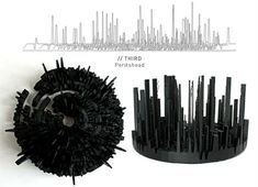 Microsonic Landscapes' translate sound waves into 3D-printed visualizations that resemble circular cityscapes, mountain ranges or volcanic craters. (Steph, 2007)