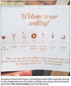 wedding booklet itinerary - love this idea for centre of booklet