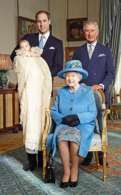 Prince George Christening, Official Portrait. Her Majesty The Queen and her 3 Heirs to the throne