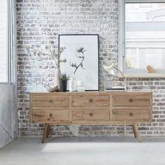 Buffet en mindy - Largeur 200 cm - 6 tiroirs - OSLO