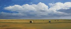 Bales #2, 2016, oil on panel, 24 x 59 inches