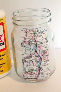 Mod Podged Map Mason Jars - from bank to keep sake of where you are going/went???