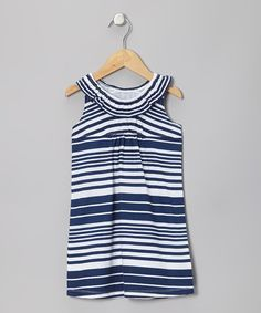 Blue Nautical Stripe Flounce Dress by Sprockets