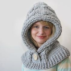 51 Degrees North - Crochet Hooded Cowl, pattern for purchase Crochet Hooded Cowl, Hooded Scarf, Knit Crochet, Crochet Hats, Slippers Crochet, Free Crochet, Hood Pattern, Free Pattern, Knitting Patterns