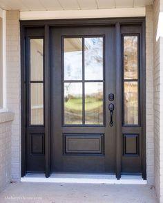 Fixer Upper Paint Colors, Front Door Paint Colors, Best Front Door Colors, Paint Colours, Wall Colors, Interior Door Knobs, Painted Front Doors, Black Front Doors, Front Door Entry