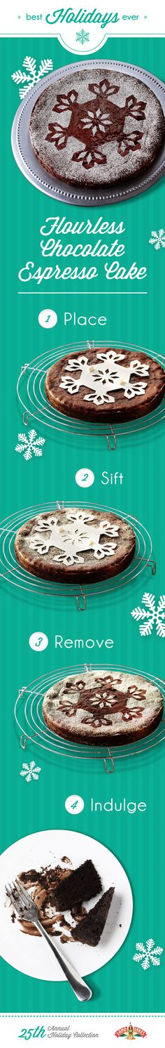 You don't need to be a professional to decorate desserts like one. A stencil for this powdered sugar decoration is included with the recipe.