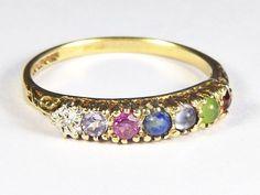 Terrific Unusual Vintage English 9K Gold 'Darling' Acrostic Ring Diamond Amethys   eBay
