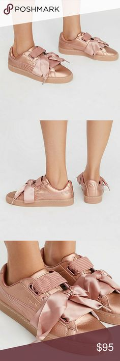 Puma Basket Heart Rose Gold/Copper Rose Sneakers Excellent Condition like new with Box Size 6.5/37 Classic Puma court sneakers in a luxe metallic leather with changeable woven or satin ribbon laces.  Rubber outsole Padded footbed Puma Shoes Sneakers