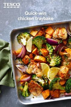 This simple chicken traybake is sure to be popular with all the family. Tender chicken thighs, sweet potatoes, onions and broccoli are roasted with zesty lemon and paprika for a colourful midweek meal. | Tesco