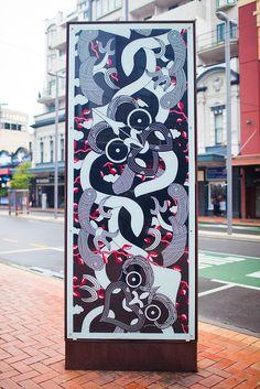 Te Paepae nui o Te Taranaki Whanui ki te Upoko ki te Ika - Maori design by Johnson Witehira Maori Patterns, Polynesian Art, Maori Designs, New Zealand Art, Nz Art, Maori Art, Kiwiana, Art Carved, Indigenous Art