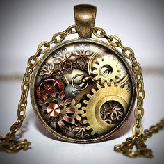 Steampunk Gears Pendant and Necklace by JenifersNecklaces on Etsy, $10.00
