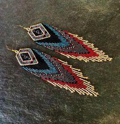 Luxury Glass Seed Bead Earrings Native American Beaded