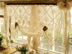 SHABBY French Rustic Chic Balloon Burlap Valance -ANTIQUE Lace Flower BOWS Cream | eBay