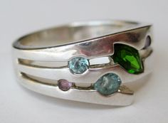 Vintage Ring Art Deco Sterling Silver Multi Stone Jeweled Cocktail Ring size 8 by SanDiegoJewelryShop on Etsy