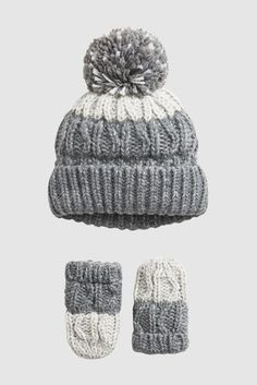 Buy Grey Ombre Hat And Mittens Two Piece Set (Younger) from the Next UK online shop Cosy Winter, Winter Hats, Bobble Hats, Grey Ombre, Stylish Hats, Boys Accessories, Two Piece Sets, Childrens Shoes, Hat Sizes