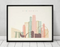 Singapore poster Singapore print Singapore skyline art Wall