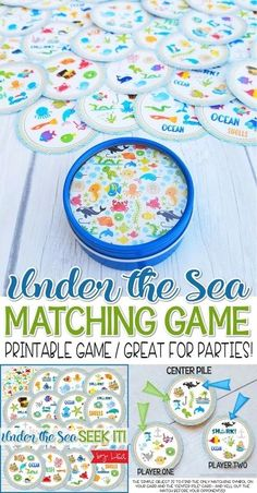printable game, under the sea, ocean printable, party game, printable party game, match game, printable matching game, ocean game, under the sea party ideas, my computer is my canvas printables, #mycomputerismycanvas SEEK IT GAME MATCH GAME PRINTABLE CARDS
