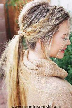New hair ideas simple braided ponytail ideas Sweet Hairstyles, Everyday Hairstyles, Ponytail Hairstyles, Ponytail Ideas, Hairstyle Ideas, Cute Fall Hairstyles, Hair Ponytail, Medium Hair Styles, Natural Hair Styles