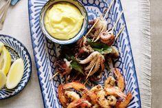 Transform fresh juicy prawns into a spectacular starter with garlic chilli and saffron mayonnaise.