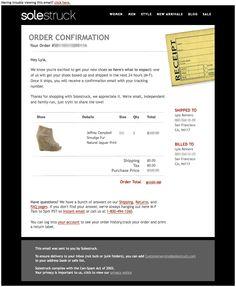 Order confirmation receipt