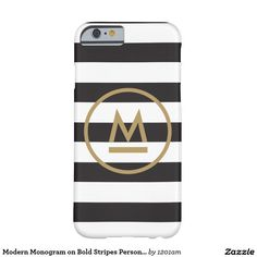 Modern Monogram on Bold Stripes Personalised Barely There iPhone 6 Case