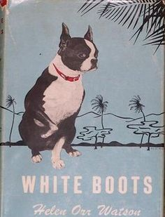 White Boots Vintage Boston Terrier Print Decoupaged on Wood