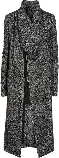 RICK OWENS Asymmetric Wool-blend Mélange Coat - Lyst